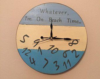 Tout Ce Que Je Suis Sur La Plage Temps Decoration Murale Horloge Plage Plage Palette Horloge Horloge Murale En Bois De Recu Clock Painting Wall Clock Clock
