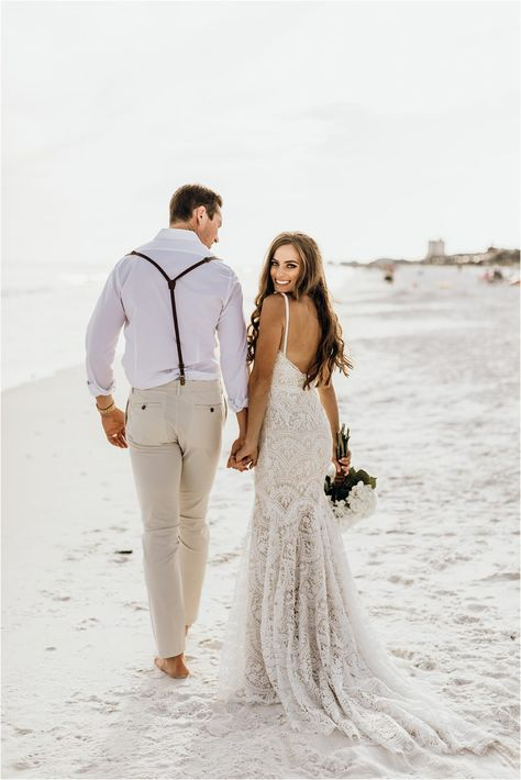 Small Beach Weddings, Simple Beach Wedding, Beach Wedding Photos, Wedding Photoshoot, Destination Wedding Dresses, Boho Beach Wedding Dress, Lace Wedding, Sunset Beach Weddings, Barn Weddings