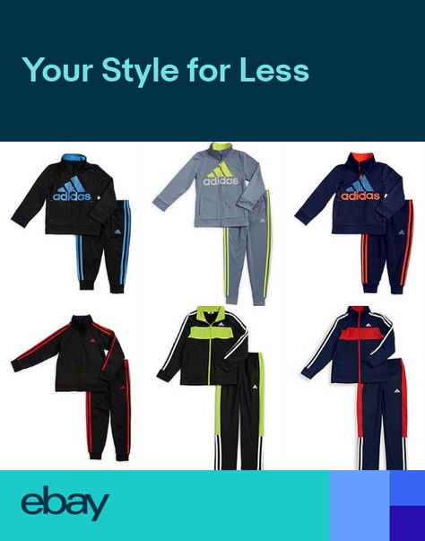 41e32b2b7f3348 NEW Adidas Boys 2-Pc Jacket Pants Set Outfit 234567 Tracksuit BlackBlue