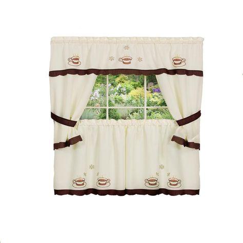 Achim Sheer Cuppa Joe 24 In L Embellished Cottage Window Curtain