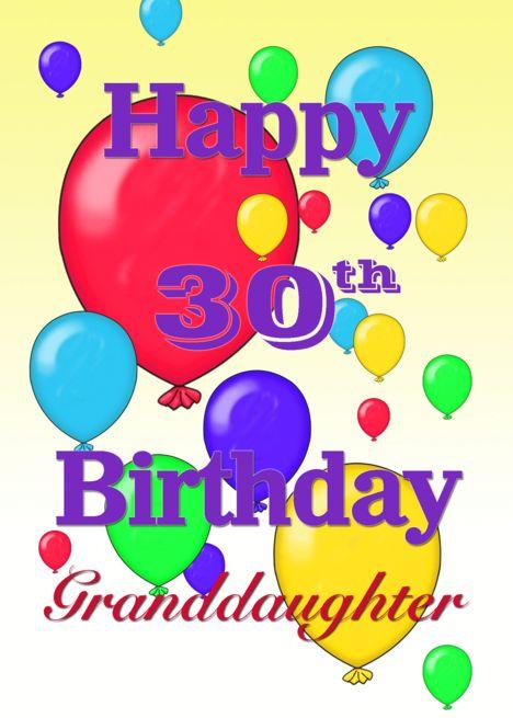Happy 30th Birthday Granddaughter Balloons Card Ad Sponsored Birthday Happy Card Happy 8th Birthday Happy 30th Birthday Happy 30th Birthday Wishes