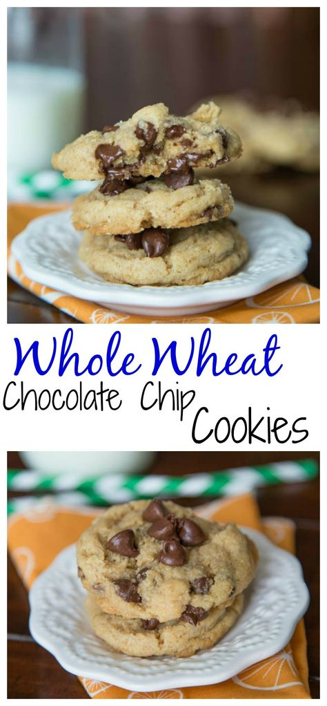 Whole Wheat Chocolate Chip Cookies –  Soft and chewy cookies that just happen to be a little better for you. No one will ever know there is no butter and these are whole wheat!