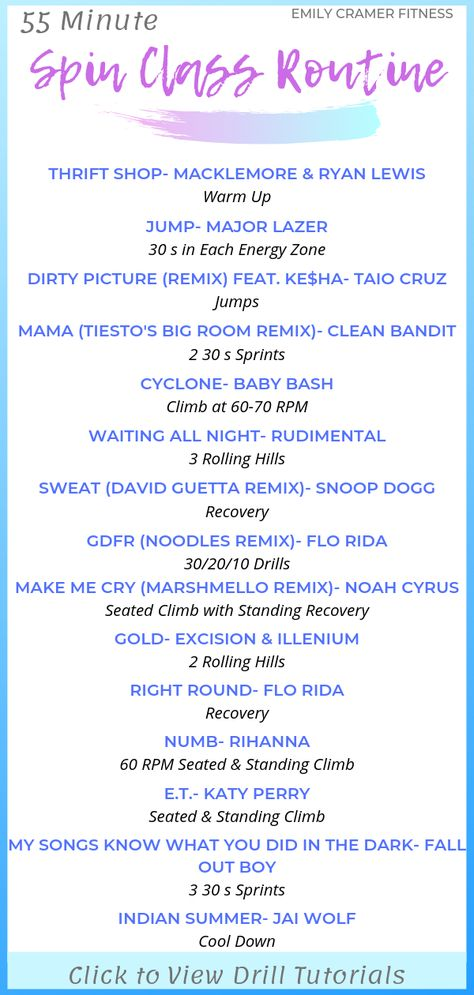 55 Min Spin Class Routine, Drills, and Playlist