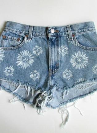 Blue Shorts - Denim Cutoff Shorts with Hand