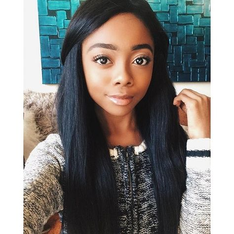Skai Jackson with Her Hair Straight   ... Skai captioned her glam new selfie. Her skin looks radiant and her