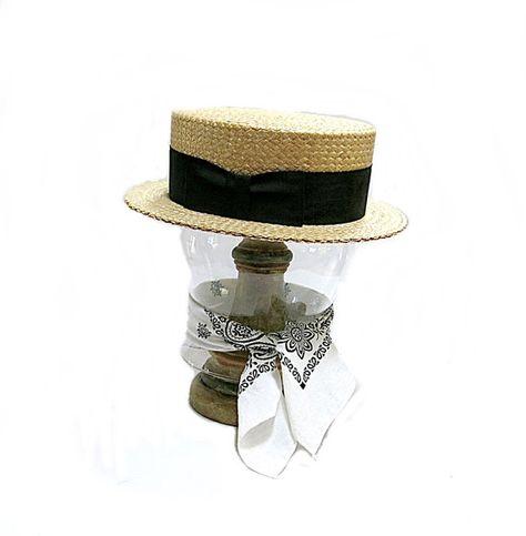 c7629ee5281dd Straw Boater Mens Hat Stetson Vintage Skimmer Summer Weight Black Ribbon