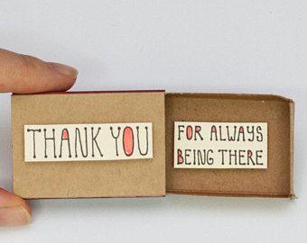 "Liefde dank u vriendschap kaart Matchbox / Gift box / Message box ""Dank u voor Aways Being There"" / OT084"