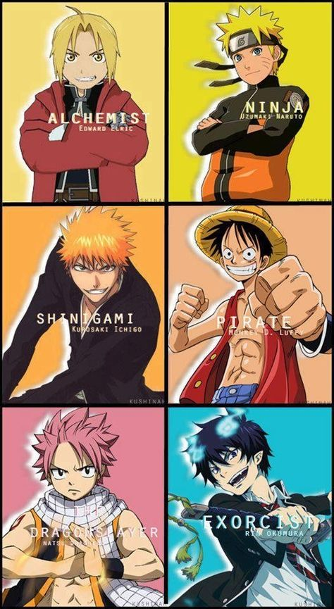 """This is a picture of the main protagonists of my favorite animes. (Anime is a Japanese form of animation/""""cartoon""""). Anime is important to me because when I was younger and even now it provides an escape for me into a world of fantasy and wonder whenever I'm feeling alone or sad. Anime is important to society because point blank it is one of japans biggest exports so it is a way for japan to get a part of their culture out to the world."""