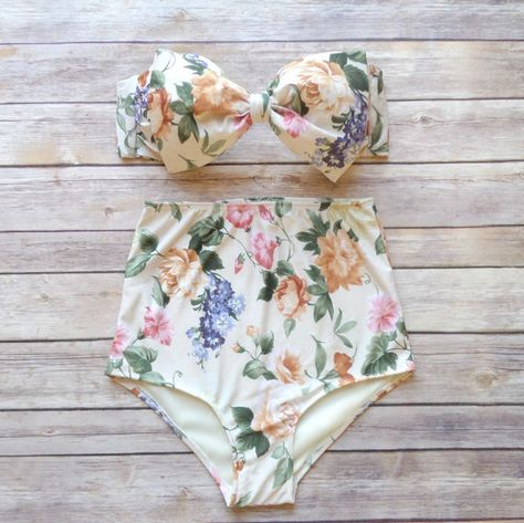 Cute Bow Bikini - Vintage Style High Waisted Pin-up Swimwear - Amazing English Country Garden Floral Print £30.30 GBP