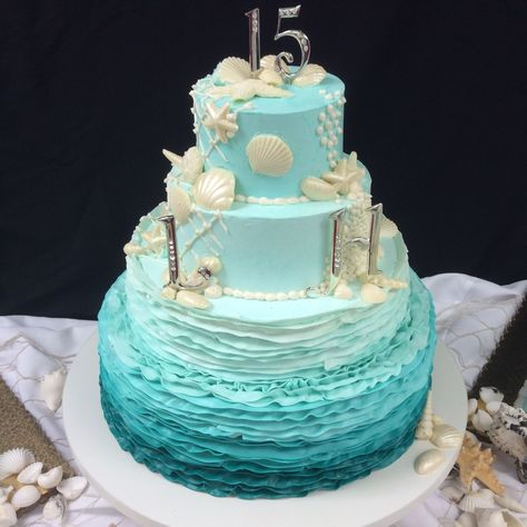 Ombre Under the Sea Teal Design 2014 #quinceaneracakes