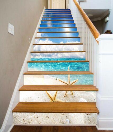 3d Beach Stair Risers Decoration Photo Mural Vinyl Decal Wallpaper In 2020 Stairs Stair Risers Vinyl Wallpaper