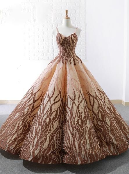 5d20ca8fbf Vintage Ball Gown Spaghetti Straps Floor Length Wedding Dress With Pearls