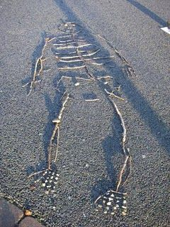 Human skeletons made from sticks and stones--this would be great ...