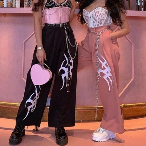 Get Hyper Wide Leg Pants now Exclusively on Shop Your Kind with Free Worldwide Shipping- Hyper Wide Leg Pants on SALE! Tumblr Outfits, Edgy Outfits, Grunge Outfits, Girl Outfits, Cute Outfits, Aesthetic Grunge Outfit, Aesthetic Clothes, Fashion Pants, Fashion Outfits