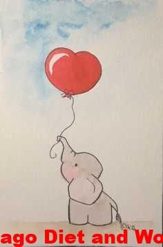 The baby elephant with red heart. Watercolor on paper size 10 x 15. Format ... - #Baby #elephant #Format #Heart #Paper #red #size #Watercolor