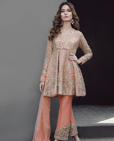 Peplum cut peach 3 piece ready to wear dress by Republic luxury collection 2019 – Online Shopping in Pakistan
