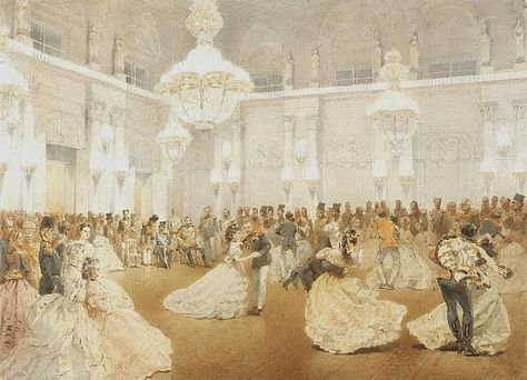 1873 (May) Ball in the Concert Hall of the Winter Palace during the official visit of the Shah Nasir al-Din by Mihaly Zichy (State Hermitage Museum - St. Petersburg Russia) From Tsar Nicolas Ii, Hermitage Museum, Princess Aesthetic, St Petersburg Russia, Winter Palace St Petersburg, Dance Art, Ballroom Dance, Concert Hall, 19th Century