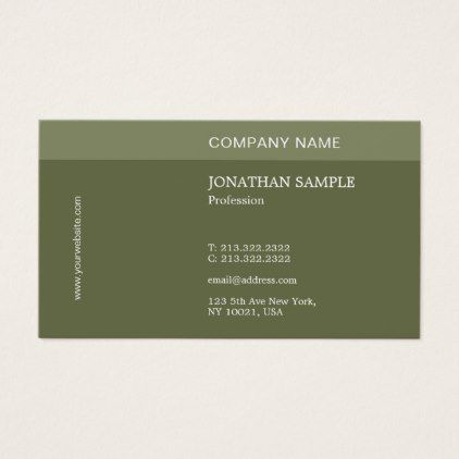 Modern Elegant Design Professional Plain Green Business Card