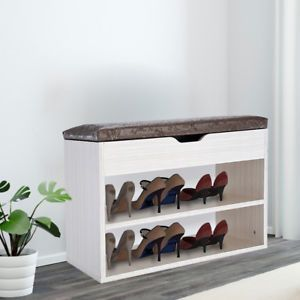 Shoe Bench Organizer Seat Wood Cabinet Stand Hallway Seating Rack
