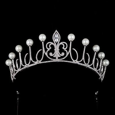 Luxury All CZ Cubic Zirconia Flower Pearl Queen Wedding Pageant Prom Tiara Crown