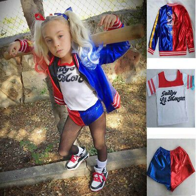 Halloween Cosplay Suicide Squad Harley Quinn Costume Girls Fancy Dress Suit