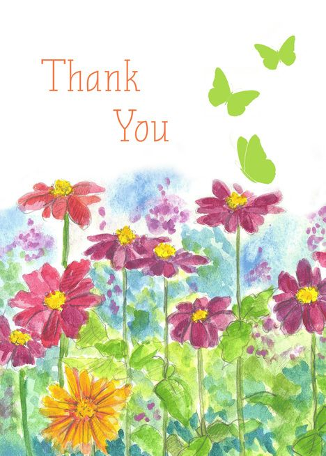 Thank You Butterflies Zinnia Flower Garden Blank Card Gardening