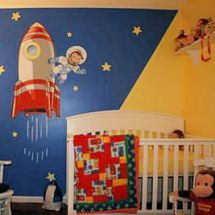 Navy Blue Red And Yellow Curious George Astronaut Outer E Nursery A Moon Stars Wall