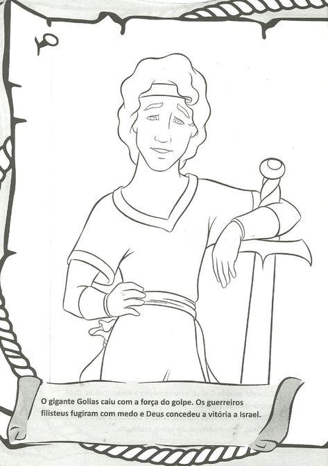 Davi E Golias Historia Biblica Com 8 Desenhos Para Colorir