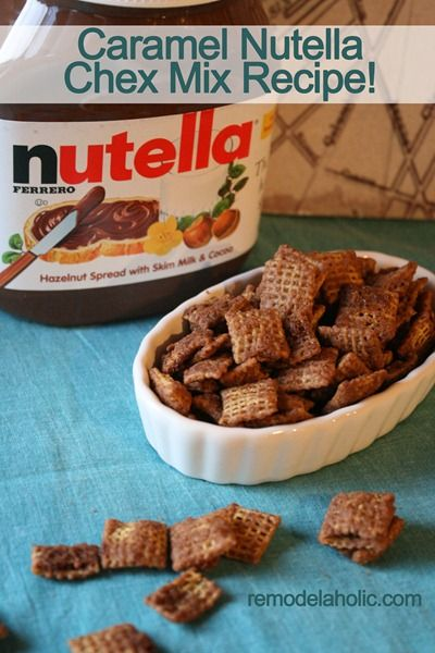 Caramel Nutella Chex Mix remodelaholic.com #recipe #chocolate #Nutella #caramel #dessert #treat