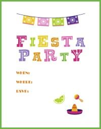 Free Printable Fiesta Party Invitations Theme