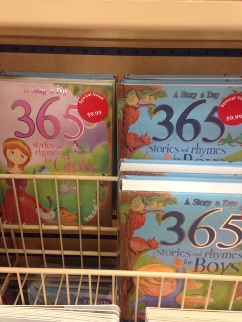 """""""Today's pointlessly gendered items: 365 days of stories and rhymes for girls and boys"""" - @ Courtneyy1212 (thanks!)"""