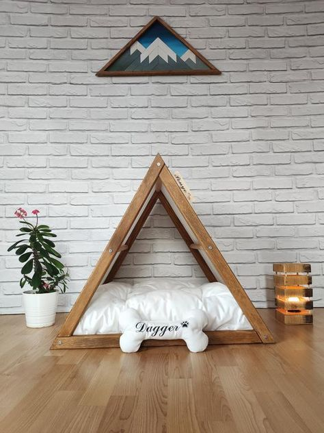 White-Walnut Modern Dog House, Indoor Dog Bed, Tepee Cats, Wood Pet House.