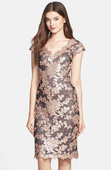 $328 Tadashi Shoji Sequin Paillette Embroidered Lace Antique Pink Sheath Dress