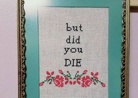 Framed ready to ship please fuck off and die cross stitch