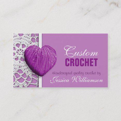 Crochet Heart Shaped Yarn Purple Business Cards Zazzle Com Crochet Heart Crochet Business Heart Shapes