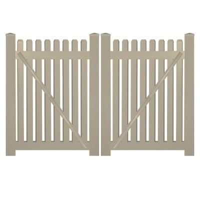 Weatherables Provincetown 10 Ft W X 4 Ft H Khaki Vinyl Picket Fence Double Gate Kit Includes Gate Hardware In 2020 Vinyl Picket Fence Gate Kit Interior Design School