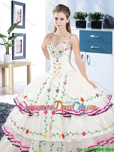 Designer See Through Scoop Organza and Taffeta Quinceanera Dress with Embroidery - http://m.quinceaneradresscity.com