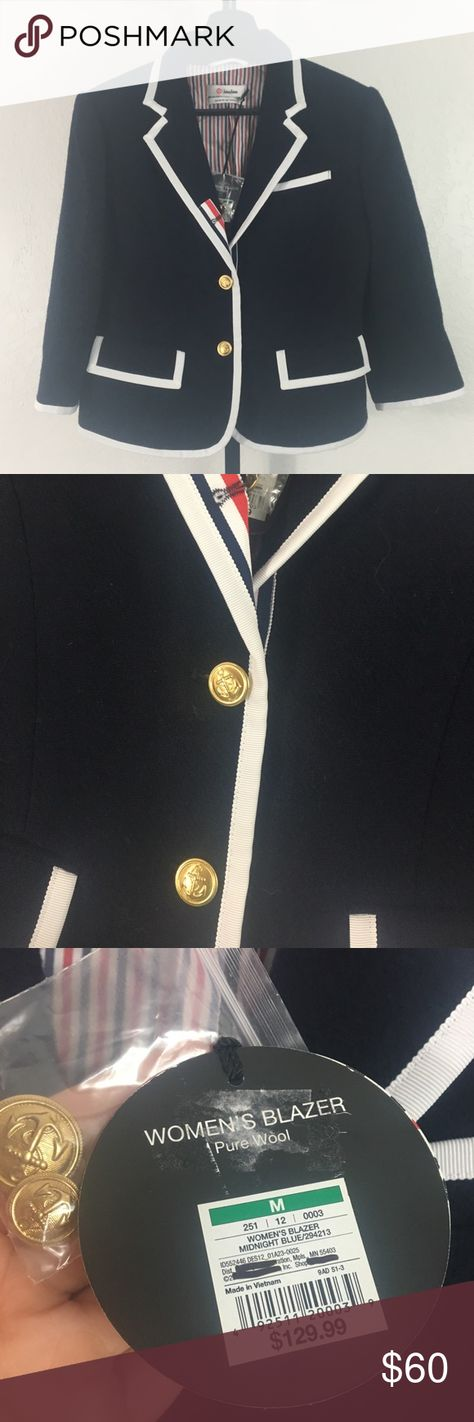 f48d3b5c3c2c4 Neiman Marcus for Target Thom Browne Midnight blue white wool blazer Red  white and blue detailing Golden colored buttons with anchors Nautical style  ...