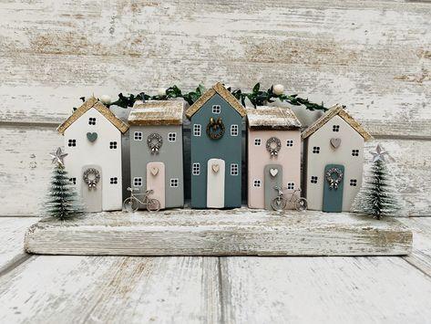 Driftwood Home Art • Winter Decor • Winter Houses • Driftwood Art • Driftwood Ornament • Home Decor • Winter Decor • The SeaSalt Shed #etsy #housewares #homedecor #pink #christmas #driftwoodhouse #grey #coastalfarmhouse #farmhouse #woodensculpture