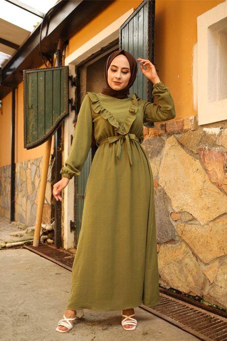 Elizamoda Haki Firfir Detayli Kusakli Tesettur Elbise 2020 Elbise Satin