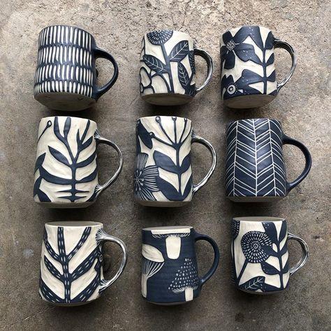 Mugs to the shop this Thursday! Ceramic Wall Art, Ceramic Pots, Ceramic Tableware, Ceramic Decor, Ceramic Painting, Ceramic Pottery, Pottery Art, Slab Pottery, Ceramics Pottery Mugs