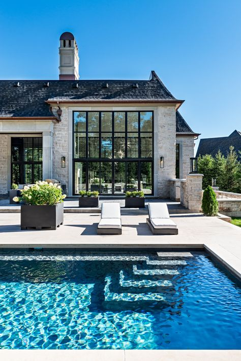 Stunning French style home with an in-ground rectangular pool features wicker po Modern House Exterior features French Home Inground pool rectangular Stunning style wicker Dream Home Design, My Dream Home, Rectangular Pool, Rectangular Planters, French Style Homes, Dream House Exterior, House Exteriors, House Ideas Exterior, Exterior Windows