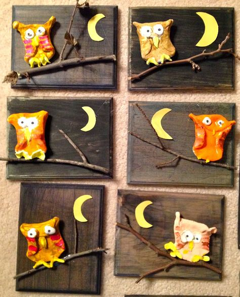 Clay Owls-1st Grade-Painted Wood-Art with Mr. Giannetto Blog