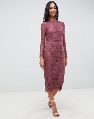 Asos Design Lace Long Sleeve Midi Pencil Dress Asos Midi Pencil Dress Lace Dress Design Lace Pencil Dress