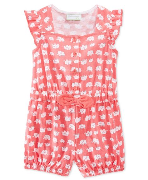 a92a11a92 First Impressions Baby Girls  Elephant-Print Romper
