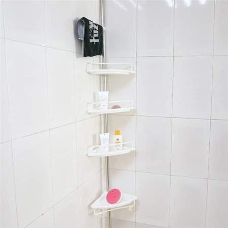4 Tier Bathroom Corner Shelf Telescopic Corner Shower Caddy Storage Rack Tower Organizer Stainless Steel Pole Rustproof White Walmart Com Bathroom Corner Shelf Shower Shelves Corner Shower Caddy