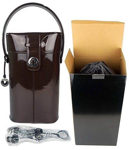 Deluxe Patent Leather Wine Carrier Set Great Birthday Present Or Business Gift Deluxe Double Wine Bottl Leather Wine Carrier Wine Carrier Wine Bottle Holders