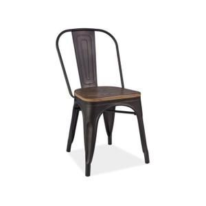 Chaise Chaise Industrielle Style Loft Noir Assise Bois Vi Dining Chairs Solid Wood Dining Chairs Chair