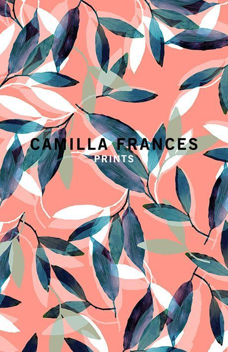 Collection | Camilla Frances Prints | leaf pattern | navy, white, sage green and coral