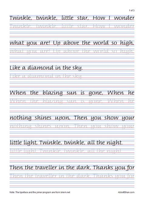 Twinkle, Twinkle, Little Star's Italic Handwriting Worksheets Lettering  Practice, Teaching Cursive, Handwriting Worksheets